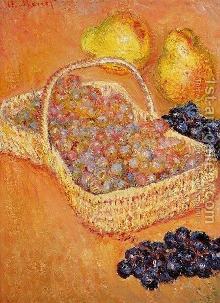 Basket Of Graphes  Quinces And Pears by Claude Oscar Monet - Reproduction Oil Painting