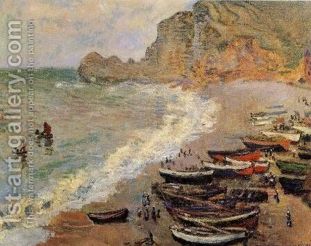 Beach At Etretat by Claude Oscar Monet - Reproduction Oil Painting