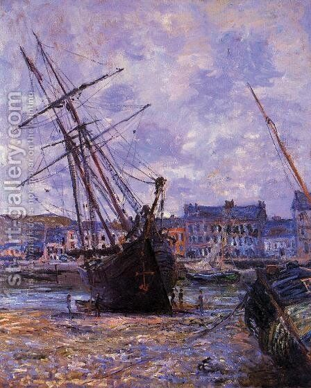 Boats Lying At Low Tide At Facamp by Claude Oscar Monet - Reproduction Oil Painting