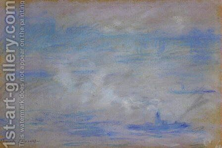 Boats On The Thames  Fog Effect by Claude Oscar Monet - Reproduction Oil Painting