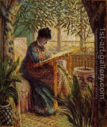 Camille Embroidering by Claude Oscar Monet - Reproduction Oil Painting