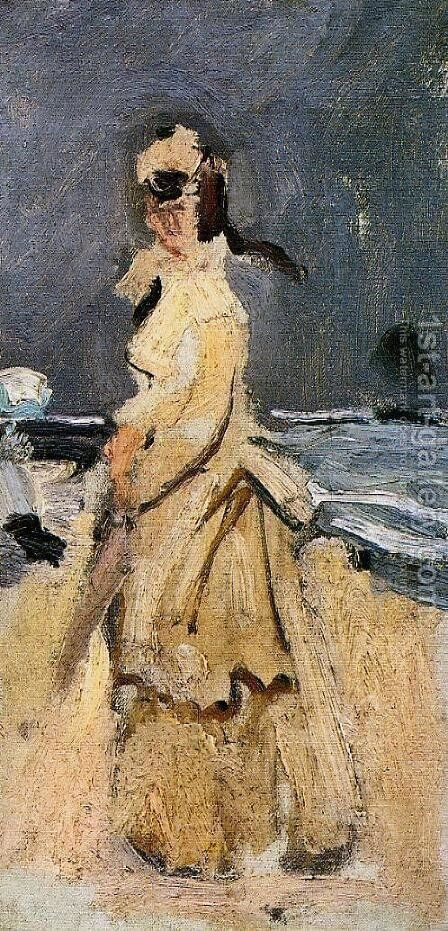 Camille On The Beach by Claude Oscar Monet - Reproduction Oil Painting