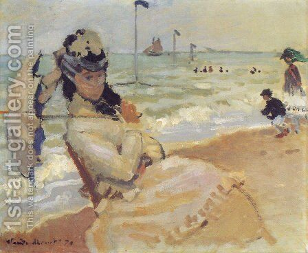 Camille On The Beach At Trouville by Claude Oscar Monet - Reproduction Oil Painting