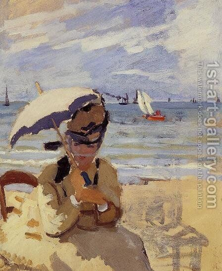 Camille Sitting On The Beach At Trouville by Claude Oscar Monet - Reproduction Oil Painting