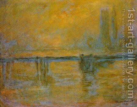 Charing Cross Bridge  Fog by Claude Oscar Monet - Reproduction Oil Painting