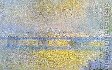 Charing Cross Bridge  Overcast Weather by Claude Oscar Monet - Reproduction Oil Painting