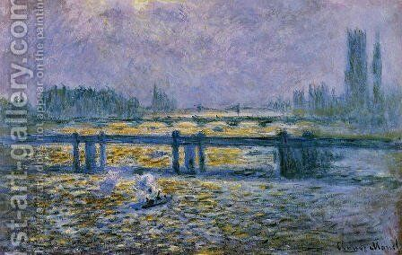 Charing Cross Bridge  Reflections On The Thames by Claude Oscar Monet - Reproduction Oil Painting