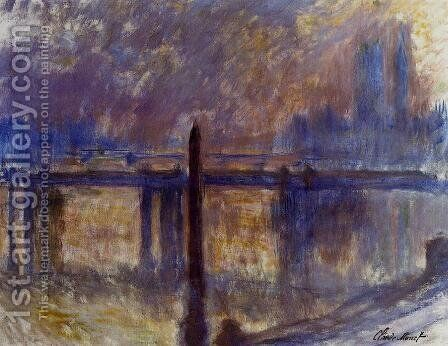 Cleopatras Needle And Charing Cross Bridge by Claude Oscar Monet - Reproduction Oil Painting