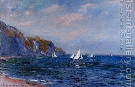 Cliffs And Sailboats At POurville by Claude Oscar Monet - Reproduction Oil Painting