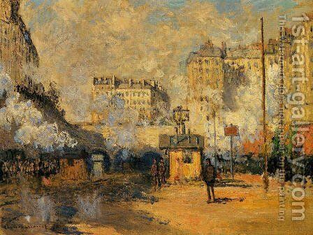 Exterior Of Saint Lazare Station  Sunlight Effect by Claude Oscar Monet - Reproduction Oil Painting