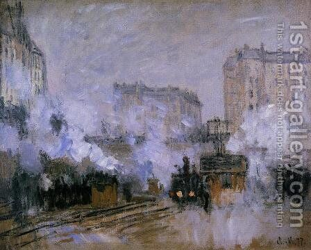 Exterior Of The Saint Lazare Station  Arrival Of A Train by Claude Oscar Monet - Reproduction Oil Painting
