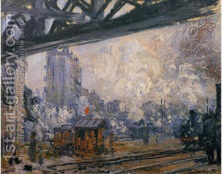 Exterior View Of The Saint Lazare Station by Claude Oscar Monet - Reproduction Oil Painting