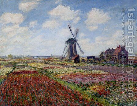 Field of tulips in holland painting by claude oscar monet