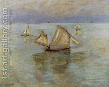 Fishing Boats At Pourville by Claude Oscar Monet - Reproduction Oil Painting