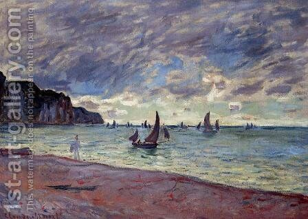 Fishing Boats By The Beach And The Cliffs Of Pourville by Claude Oscar Monet - Reproduction Oil Painting