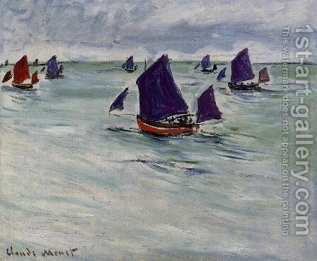 Fishing Boats Off Pourville by Claude Oscar Monet - Reproduction Oil Painting
