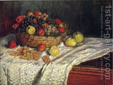 Fruit Basket With Apples And Grapes by Claude Oscar Monet - Reproduction Oil Painting