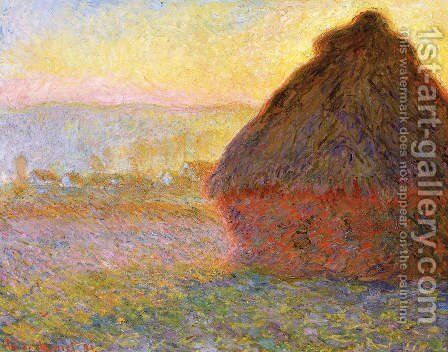 Grainstack At Sunset by Claude Oscar Monet - Reproduction Oil Painting