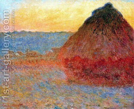 Grainstack  Impression In Pinks And Blues by Claude Oscar Monet - Reproduction Oil Painting