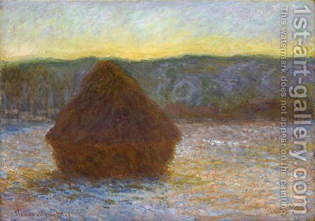 Grainstack  Thaw  Sunset by Claude Oscar Monet - Reproduction Oil Painting