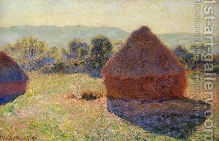 Grainstacks In The Sunlight  Midday by Claude Oscar Monet - Reproduction Oil Painting