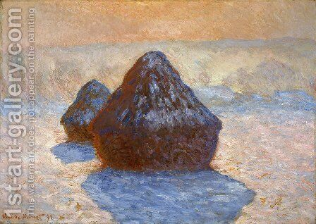 Grainstacks  White Frost Effect by Claude Oscar Monet - Reproduction Oil Painting