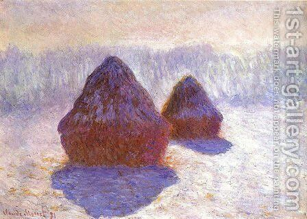 Grainstacks  White Frost Effect By Monet Aka Grainstacks  In Snowy Effect By Monet by Claude Oscar Monet - Reproduction Oil Painting