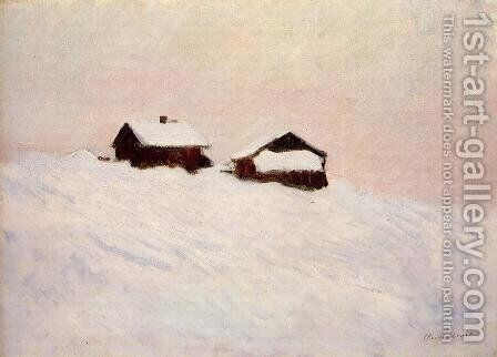 Houses In The Snow  Norway by Claude Oscar Monet - Reproduction Oil Painting