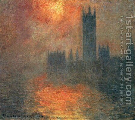 Houses Of Parliament  Effect Of Sunlight In The Fog2 by Claude Oscar Monet - Reproduction Oil Painting