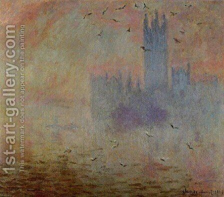 Houses Of Parliament  Seagulls by Claude Oscar Monet - Reproduction Oil Painting