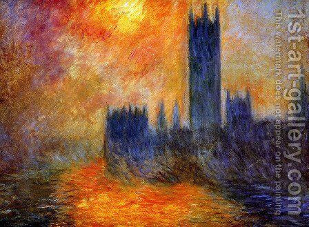 Houses Of Parliament  Sunset by Claude Oscar Monet - Reproduction Oil Painting