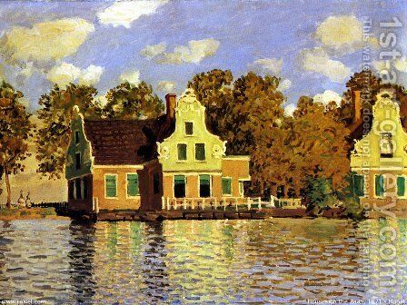 Houses On The Zaan River At Zaandam by Claude Oscar Monet - Reproduction Oil Painting