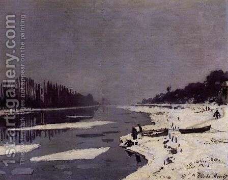 Ice Floes On The Saine At Bougival by Claude Oscar Monet - Reproduction Oil Painting