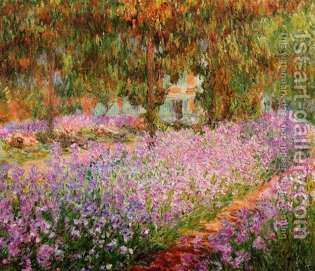 Irises In Monets Garden by Claude Oscar Monet - Reproduction Oil Painting