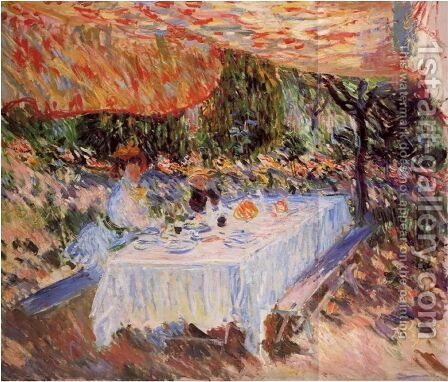 Luncheon Under The Canopy by Claude Oscar Monet - Reproduction Oil Painting