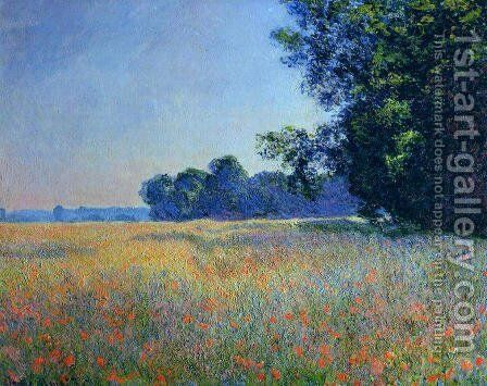 Oat And Poppy Field  Giverny by Claude Oscar Monet - Reproduction Oil Painting
