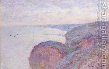 On The Cliff Near Dieppe  Overcast Skies by Claude Oscar Monet - Reproduction Oil Painting