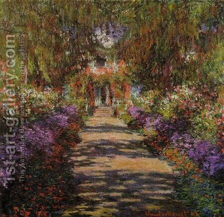 Pathway In Monets Garden At Giverny by Claude Oscar Monet - Reproduction Oil Painting
