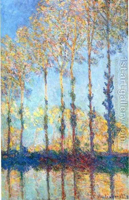 Poplars  White And Yellow Effect by Claude Oscar Monet - Reproduction Oil Painting