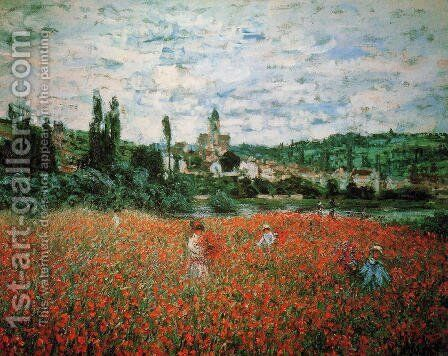 Poppy Field Near Vetheuil by Claude Oscar Monet - Reproduction Oil Painting