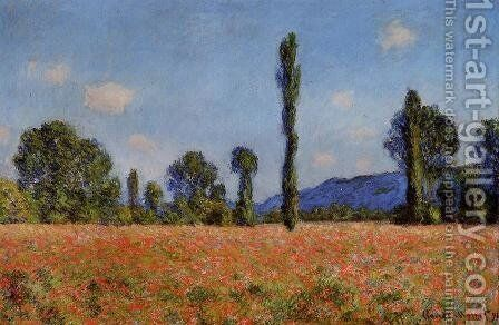 Poppy Field  Giverny by Claude Oscar Monet - Reproduction Oil Painting
