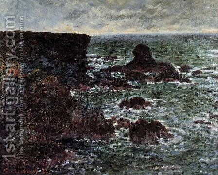 Rocky Coast And The Lion Rock  Bele Ile by Claude Oscar Monet - Reproduction Oil Painting