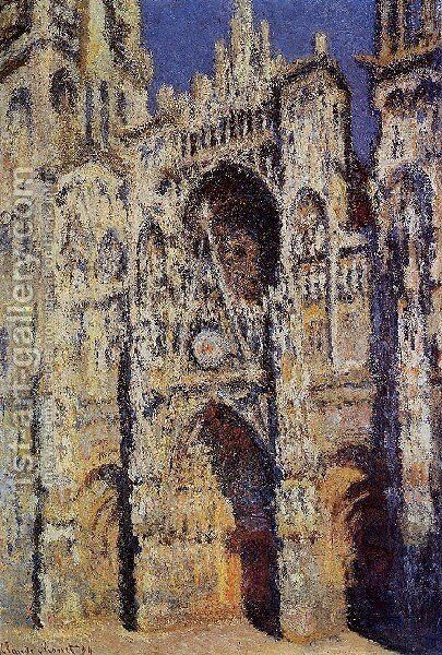 Rouen Cathedral  The Portal And The Tour D Albane  Full Sunlight by Claude Oscar Monet - Reproduction Oil Painting