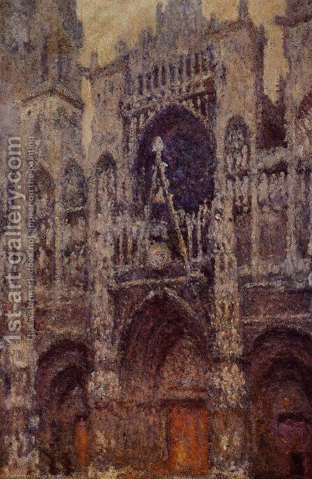 Rouen Cathedral  The Portal  Grey Weather by Claude Oscar Monet - Reproduction Oil Painting