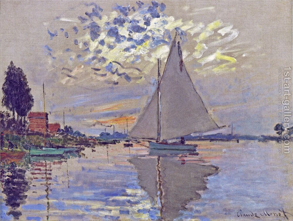 Sailboat At Le Petit Gennevilliers Painting by Claude Oscar Monet  Reproduction | 1st Art Gallery