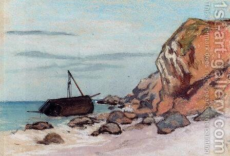 Saint Adresse  Beached Sailboat by Claude Oscar Monet - Reproduction Oil Painting