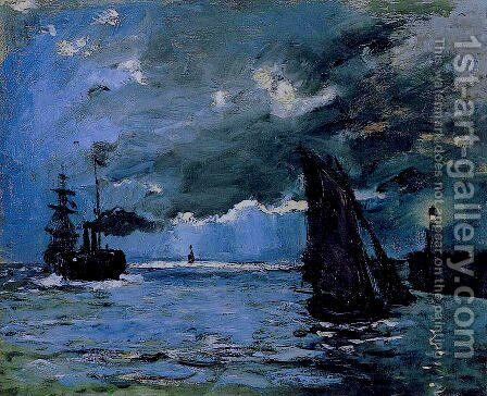 Seascape  Night Effect by Claude Oscar Monet - Reproduction Oil Painting