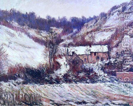 Snow Effect At Falaise by Claude Oscar Monet - Reproduction Oil Painting
