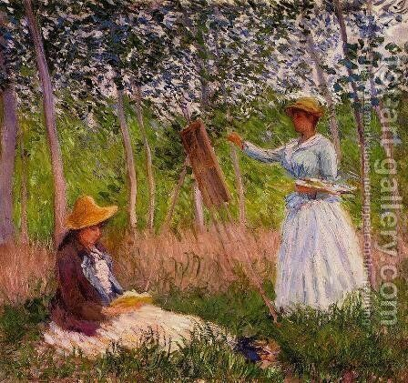 Suzanne Reading And Blanche Painting By The Marsh At Giverny by Claude Oscar Monet - Reproduction Oil Painting