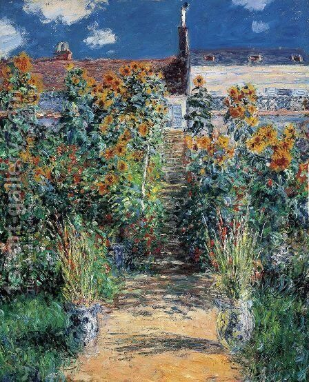 The Artists Garden At Vetheuil by Claude Oscar Monet - Reproduction Oil Painting